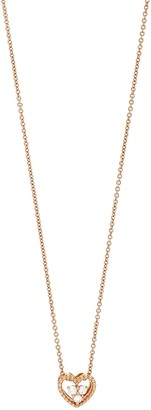 Bony Levy 18K Rose Gold Prong Set 3-Diamond Petite Open Heart Pendant Necklace