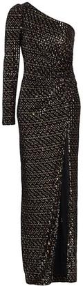 ML Monique Lhuillier One-Shoulder Velvet & Sequin Gown