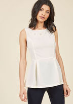 MDT1095 Your love story is completely unique, which you celebrate in this ivory top - a ModCloth exclusive! This pleated peplum separate is the ideal option from the courthouse to the country club, courtesy of its mesh-centered, embroidered flowers touched with p
