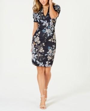 Vince Camuto V-Neck Floral-Print Scuba Sheath Dress