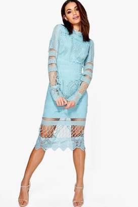 boohoo Boutique Lace Panelled Midi Dress