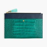 J.Crew Large pouch in stamped croc leather