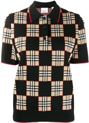 Burberry Chequer Jacquard Polo Shirt