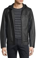 Vince Mixed Media Hooded Leather Jacket, Black
