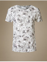 M&S Collection Floral Print Short Sleeve Pyjama Top