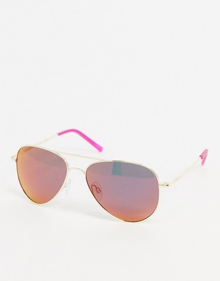 Polaroid aviator sunglasses in gold with purple lens