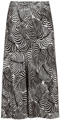 Paco Rabanne Hawaiian Palm-print Lurex And Velvet Midi Skirt - Black Silver