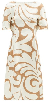 Marni Swirl-print Cotton-blend Canvas Dress - Beige Multi