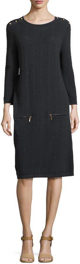 Joan Vass Sand-Stitched Zip-Pocket Shift Dress