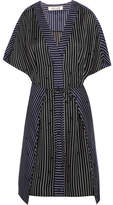 Diane von Furstenberg Striped Silk Mini Dress - Black