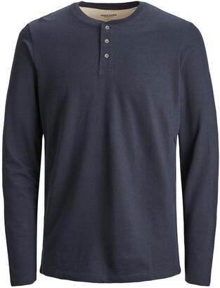 Jack and Jones Men's JJEJEANS Henley L/S NOOS Longsleeve T-Shirt