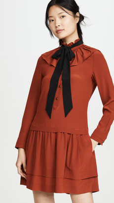 Coach 1941 Tie Neck Ruffle Dress