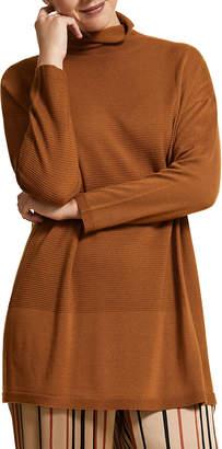 Marina Rinaldi Plus Size Roll-Neck Drop-Shoulder Long-Sleeve Wool Sweater