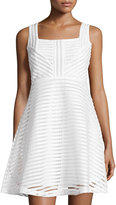 Romeo & Juliet Couture Mesh-Stripe Sleeveless Fit-&-Flare Dress, Ivory
