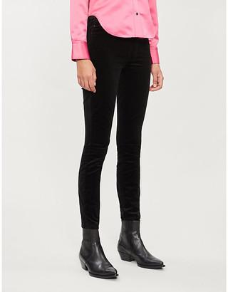 Mother Looker velvet high-rise skinny jeans