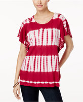 Style&Co. Style & Co Tie-Dyed Flutter-Sleeve Top, Created for Macy's