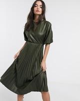 Asos Design DESIGN leather look midi pleated dress in khaki