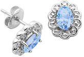Lord & Taylor December Birthstone Sterling Silver Earrings