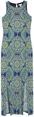 London Times Tile Slit Front Maxi Dress