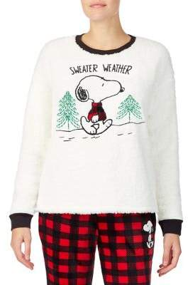 Peanuts Sweater Weather Embroidered Pullover