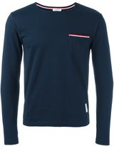 Thom Browne Long Sleeve T-Shirt With Chest Pocket In Navy Jersey