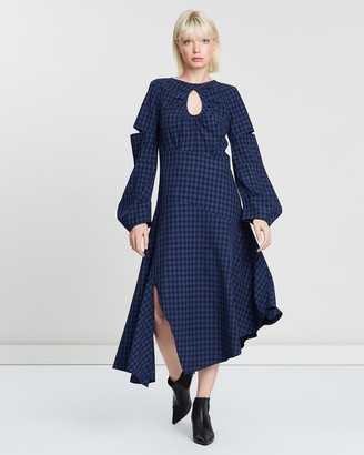 Apartment Clothing Gingham Keyhole Midi Dress