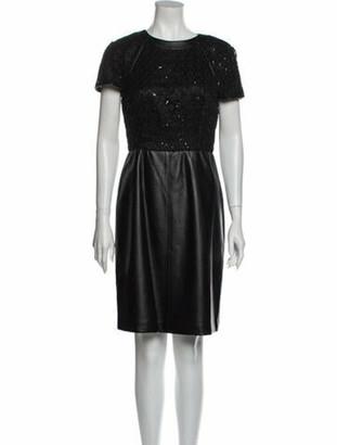 Mikael Aghal Crew Neck Knee-Length Dress Black