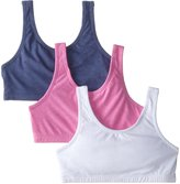 Fruit of the Loom Big Girls' Cotton Built-Up Sport 3 Pack