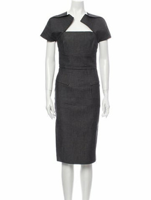 Roland Mouret Square Neckline Midi Length Dress Grey