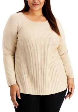 Alfani Plus Size Metallic Ribbed-Knit Sweater, Created for Macy's