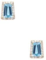 Meira T 14K Yellow Gold, Blue Topaz & 0.21 Total Ct. Diamond Trapezoid Stud Earrings