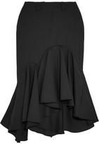 Facetasm Ruffled Wool-crepe Midi Skirt - Black