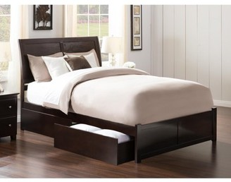 Atlantic Furniture Portland Queen Platform Bed with Flat Panel Foot Board and 2 Urban Bed Drawers in Espresso