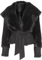 Balmain Faux Fur And Suede Coat