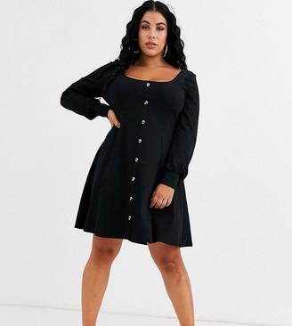 Asos DESIGN Curve extreme scoop neck button through tea dress-Black