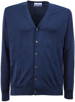 Fedeli Blue Cotton Cardigan