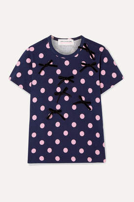 Comme des Garcons Bow-embellished Polka-dot Cotton-jersey T-shirt - Navy