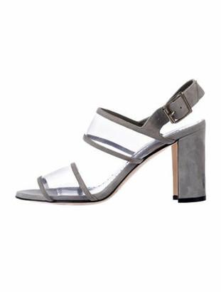 Manolo Blahnik Suede Slingback Sandals Grey