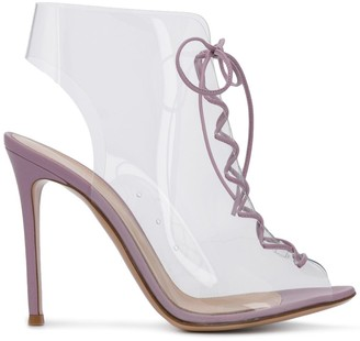 Gianvito Rossi clear lace-up booties