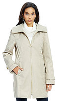 Anne Klein Convertible Collar Zip-Front Walker Rain Coat