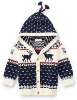 Ralph Lauren Cotton-Wool Blend Reindeer Hooded Sweater, Size 9-24 Months