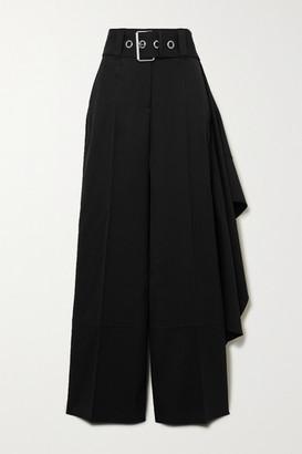 J.W.Anderson Belted Draped Wool Wide-leg Pants - Black