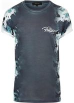 River Island MensNavy camo side print T-shirt