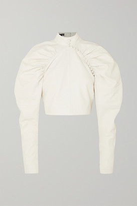 Rotate by Birger Christensen Kim Button-detailed Leather Top