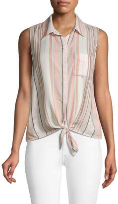 BeachLunchLounge Beach Lunch Lounge Striped Sleeveless Tie-Front Top
