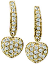 Giani Bernini Cubic Zirconia Pavé Heart Drop Earrings in 18k Gold-Plated Sterling Silver, Only at Macy's
