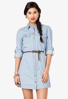 FOREVER 21 Denim Shirt Dress w/ Belt