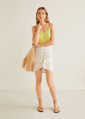 MANGO Ruched detail skirt beige - XS - Women