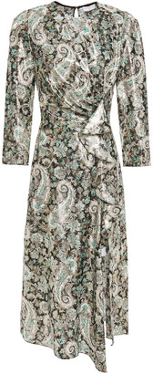 Sandro Merav Draped Cutout Metallic Jacquard Midi Dress