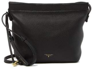 T Tahari Sienna Leather Bucket Crossbody Bag